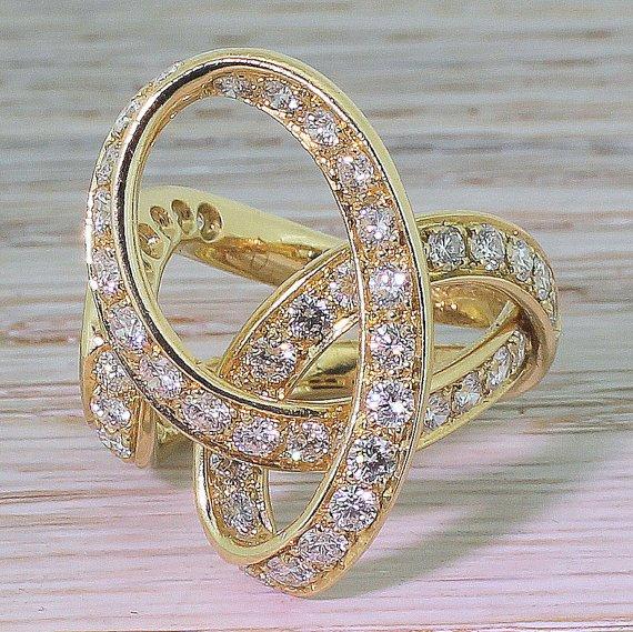 scavia of milan 229 carat diamond 8220infinity curve8221 ring italian circa 1990