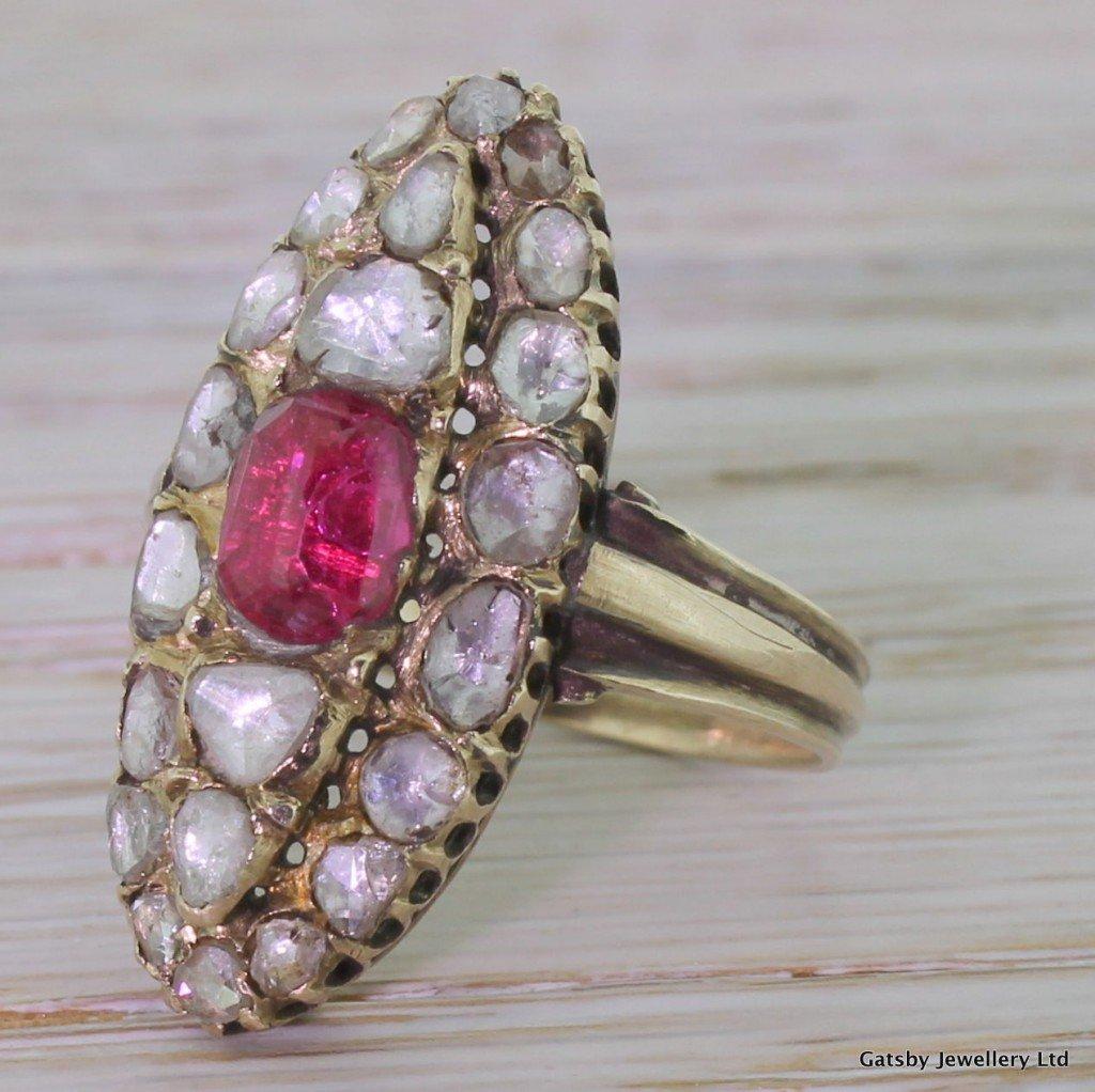 georgian ruby 038 rose cut diamond navette ring circa 1830