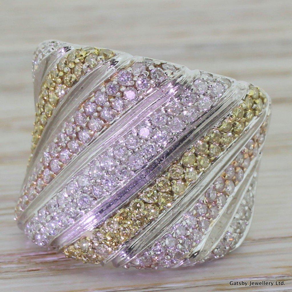 182 carat white pink 038 yellow diamond bombe ring