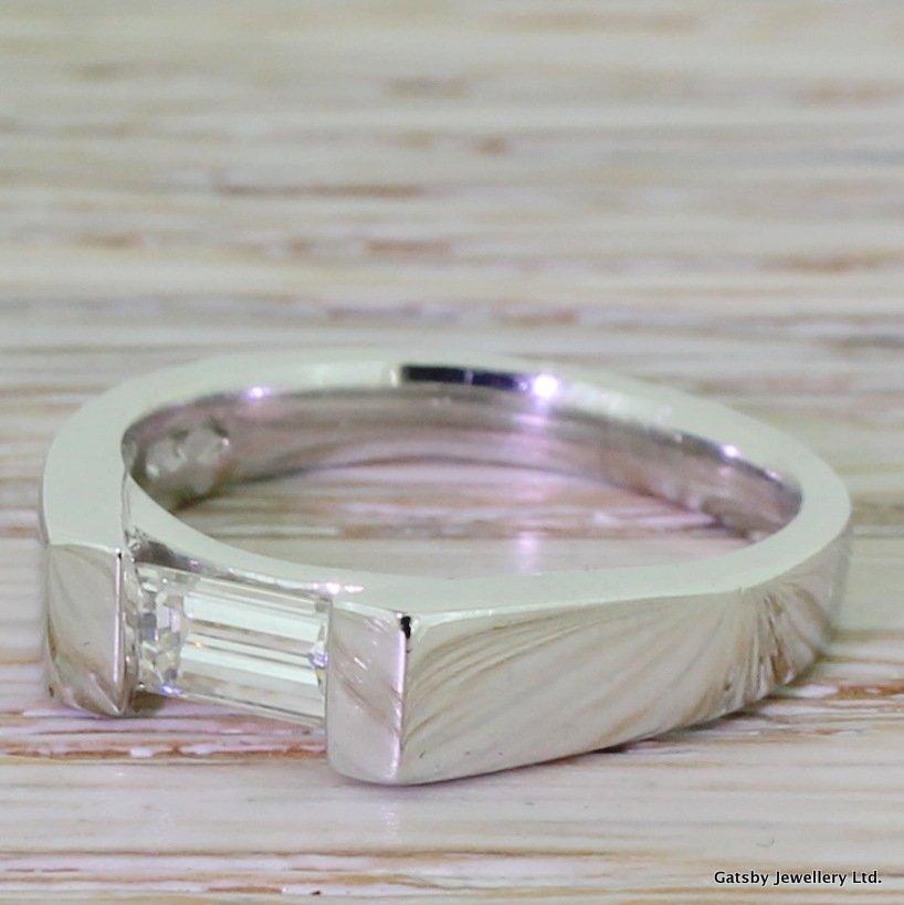 modern 040 carat baguette cut diamond engagement ring platinum