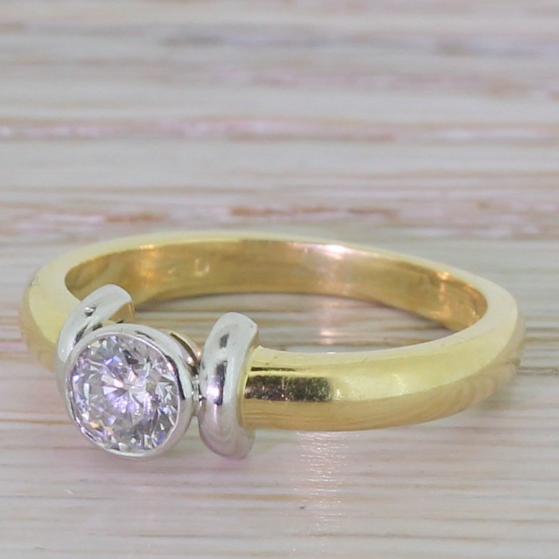 modern 040 carat brilliant round cut diamond engagement ring dated 1998