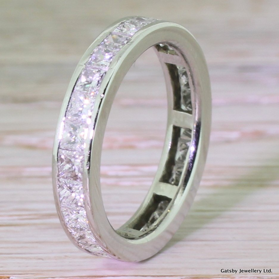217 carat princess cut diamond full eternity band ring platinum