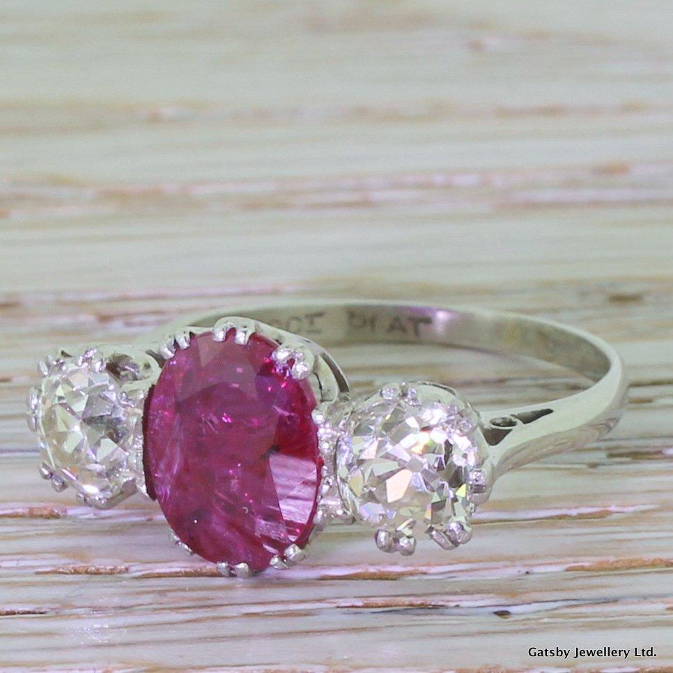 art deco 220 carat ruby 038 163 carat old cut diamond trilogy ring circa 1935