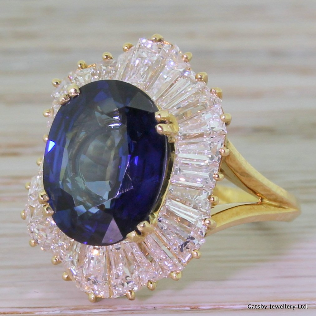 art deco sapphire 038 baguette cut diamond cluster ring french circa 1935