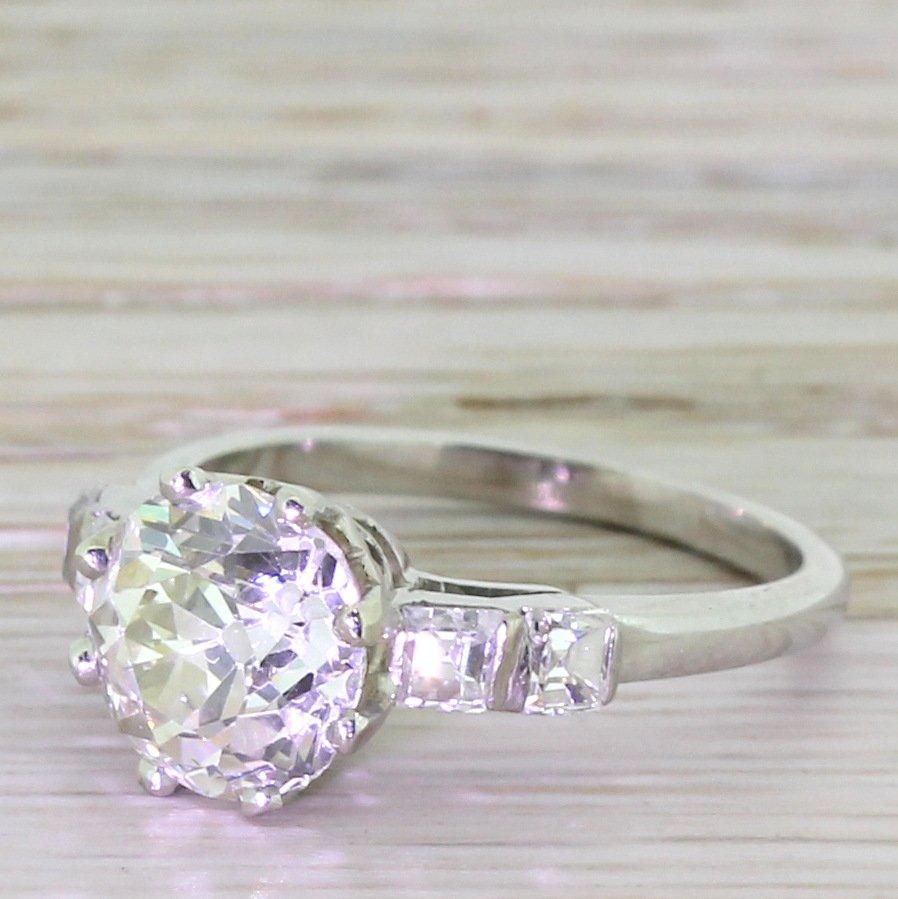 art deco 246 carat old cut 038 048 carat asscher cut diamond engagement ring circa 1930
