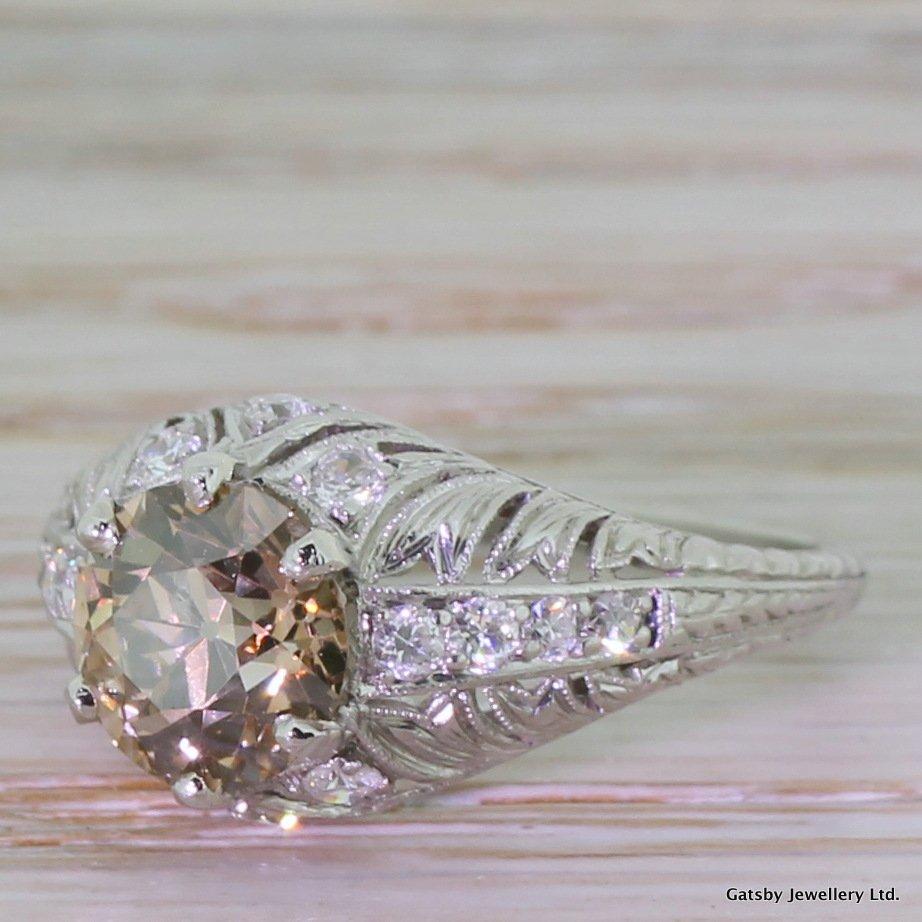 art deco 159 carat fancy orangy cognac old cut diamond engagement ring circa 1935