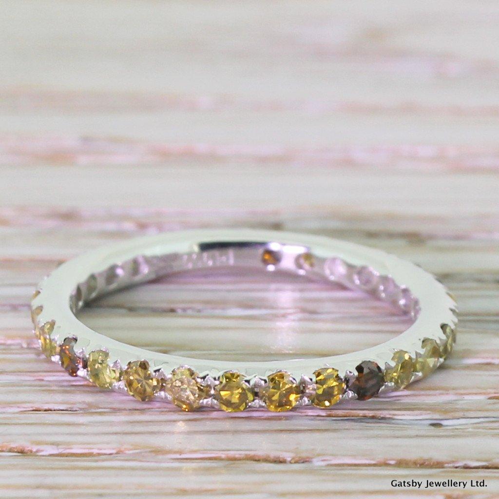 091 carat fancy yellow 038 cognac diamond full eternity band ring platinum