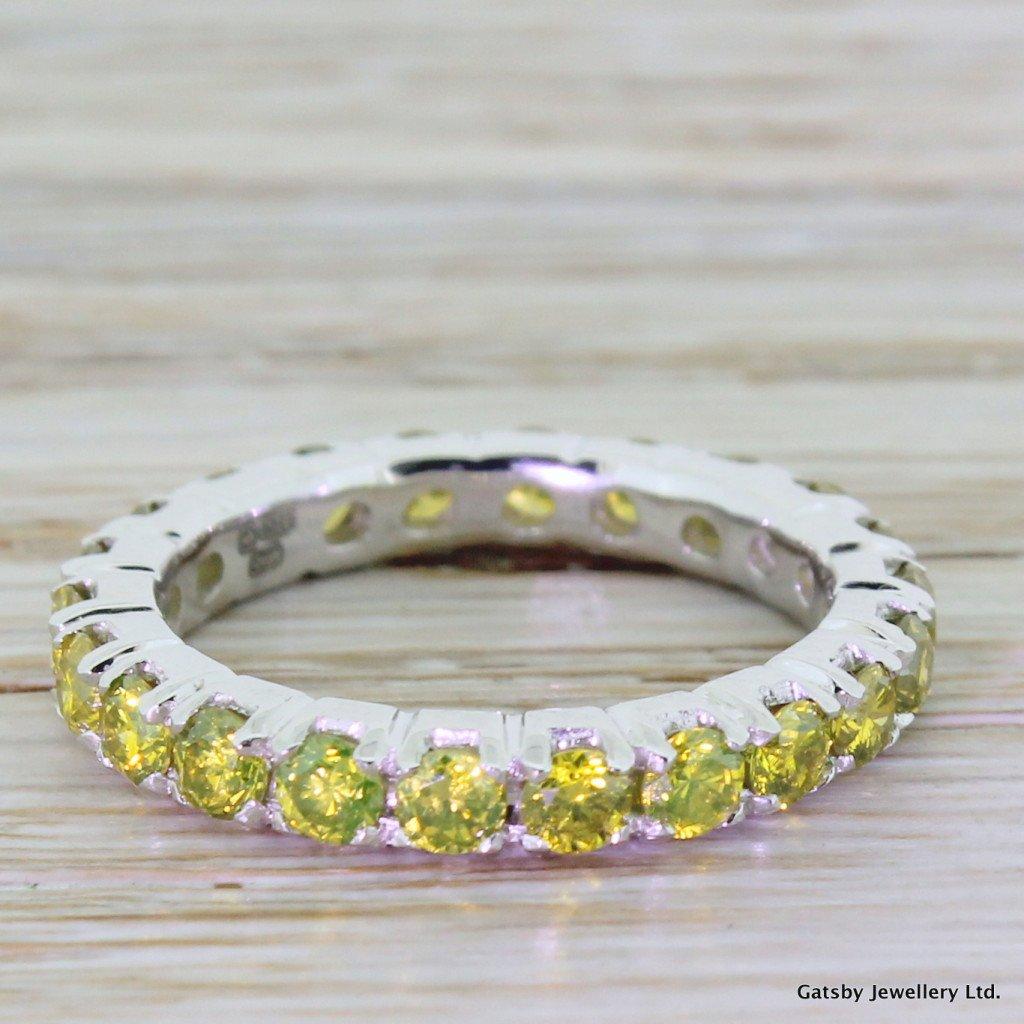 176 carat fancy yellow diamond eternity ring platinum
