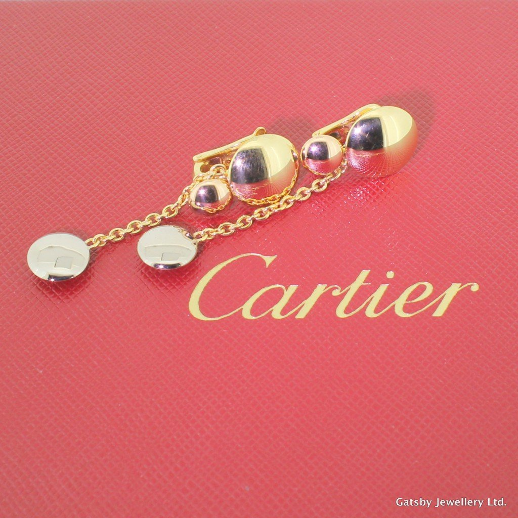 cartier trinity drop earrings in 18k rose white 038 yellow gold