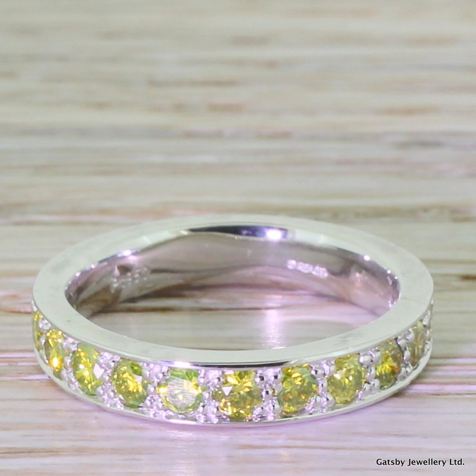 098 carat fancy yellow diamond eternity ring platinum