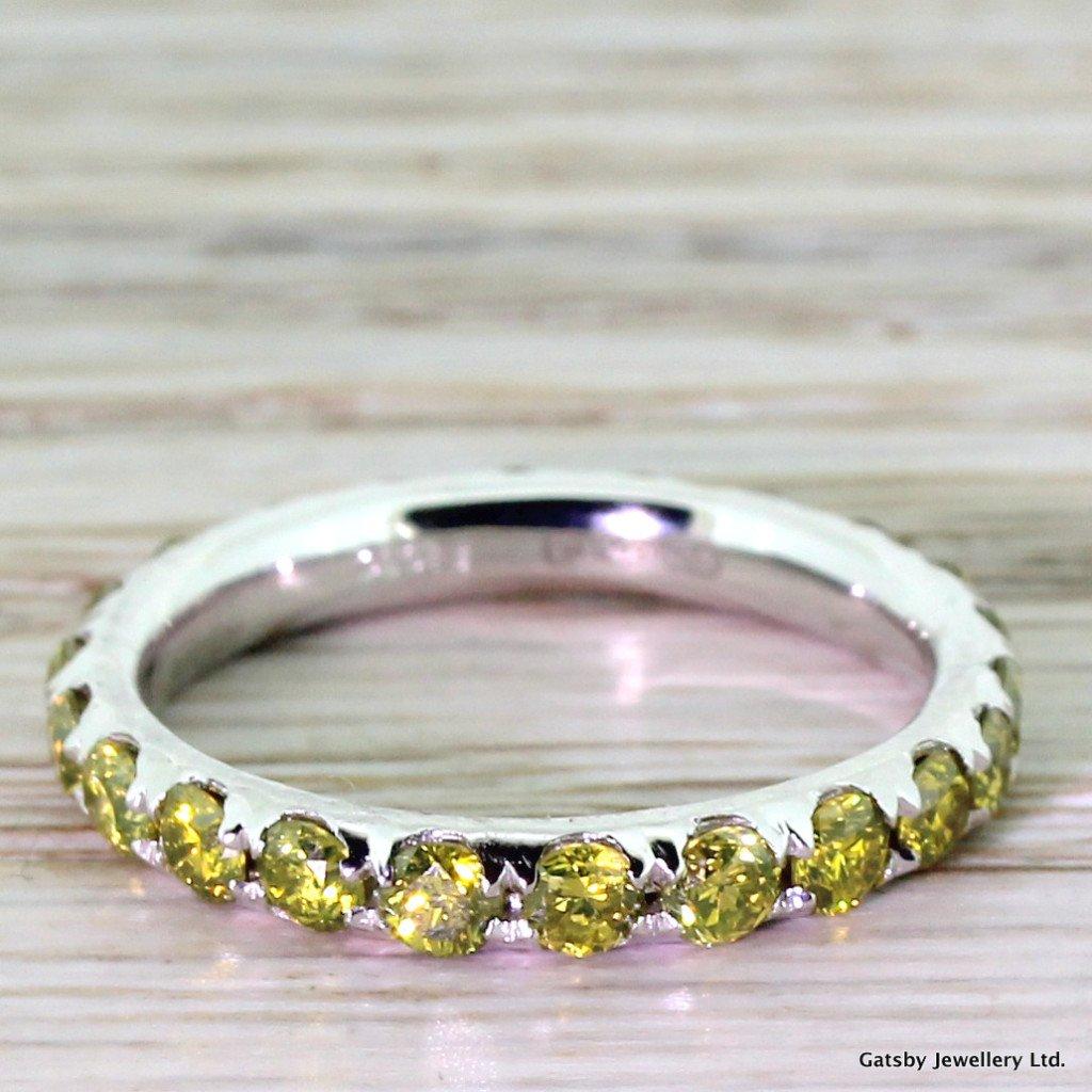 175 carat fancy yellow diamond eternity ring platinum