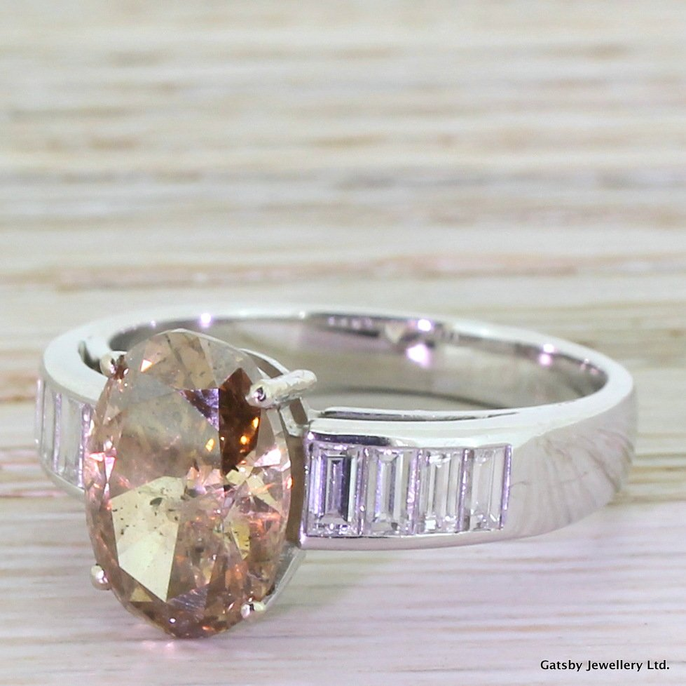 405 carat natural fancy cognac diamond engagement ring 18k white gold
