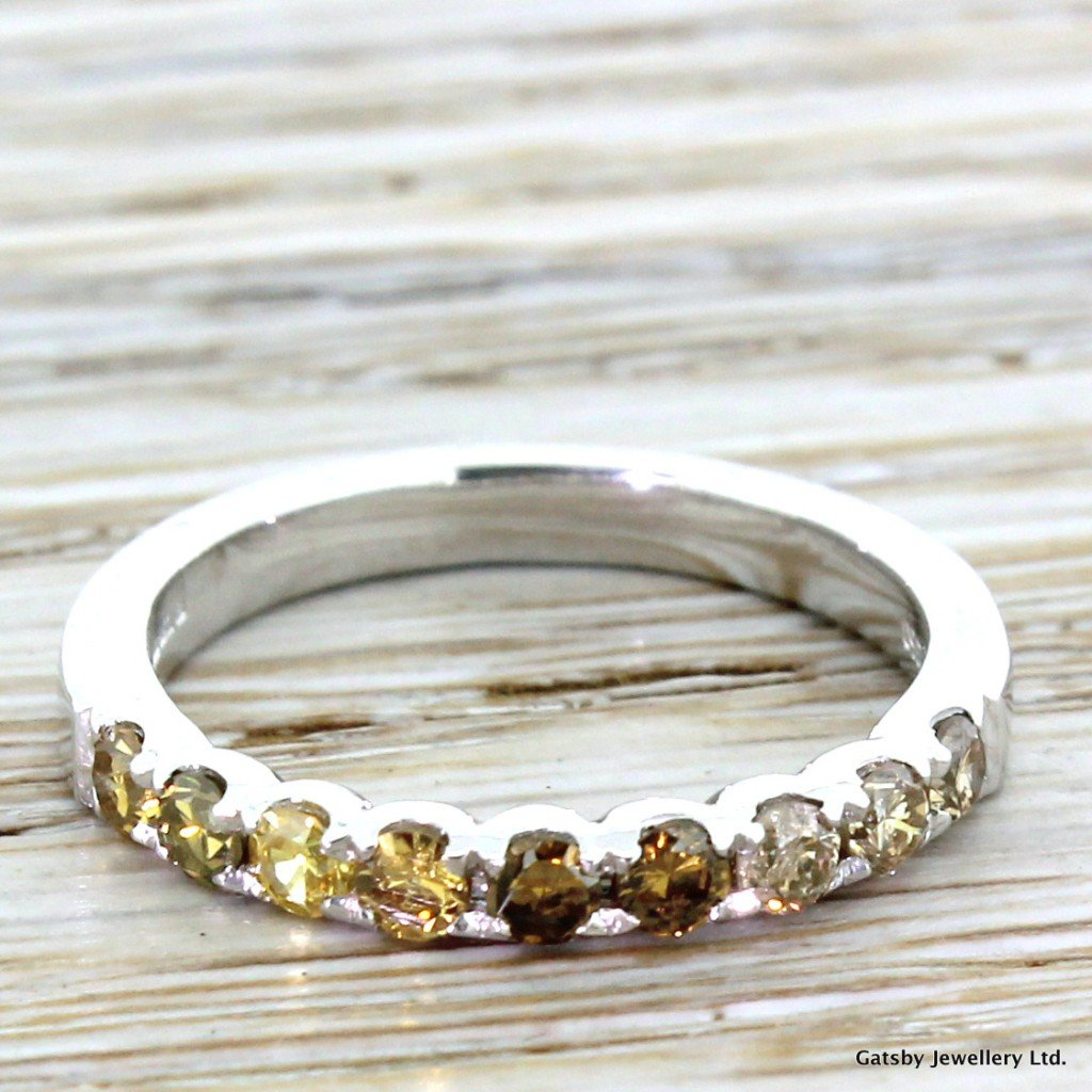 059 carat fancy yellow 038 cognac diamond half eternity band ring platinum
