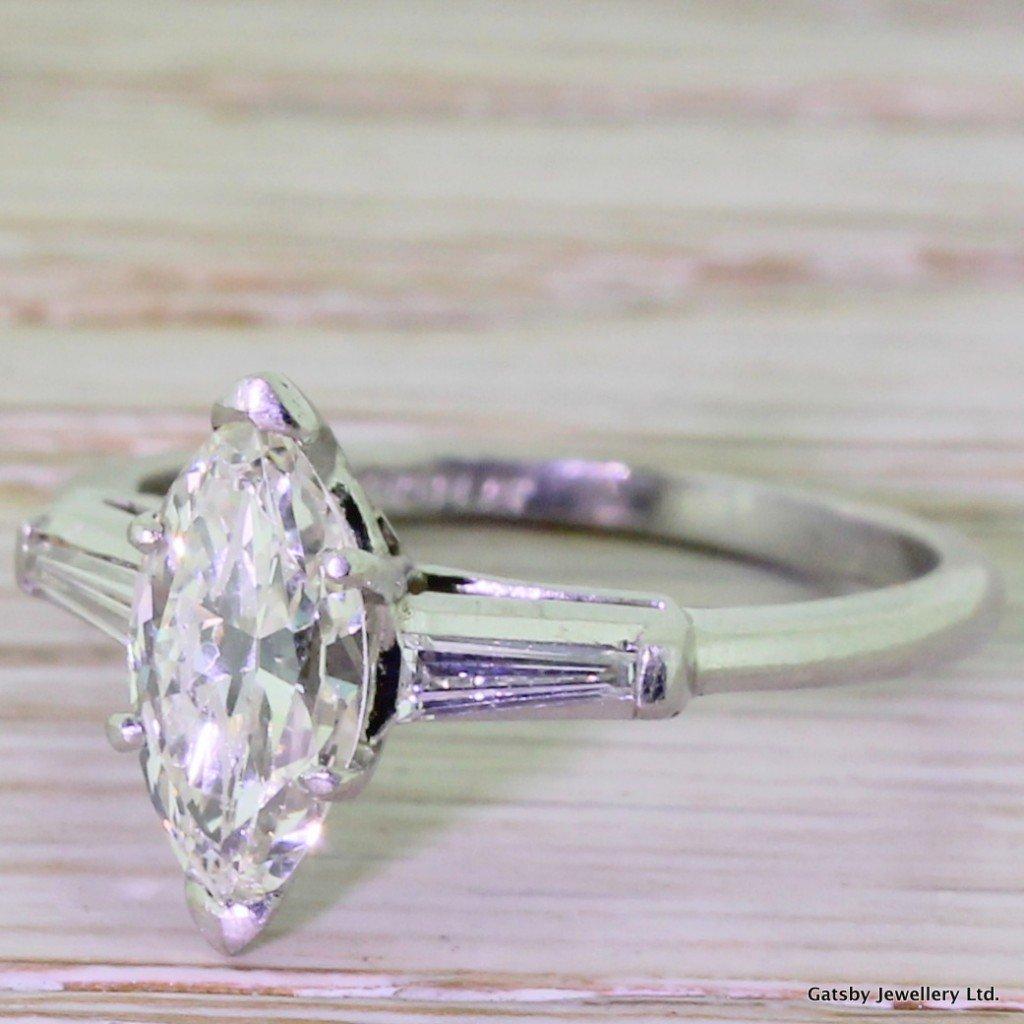 art deco 100 carat marquise cut diamond engagement ring circa 1940