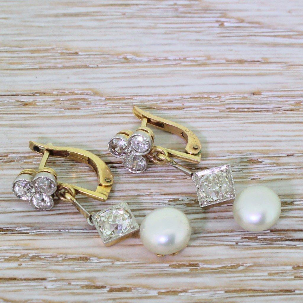 edwardian old cut diamond 038 natural pearl drop earrings circa 1910