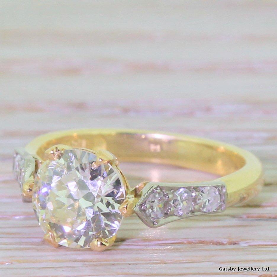 art deco 158 carat diamond solitaire engagement ring circa 1925