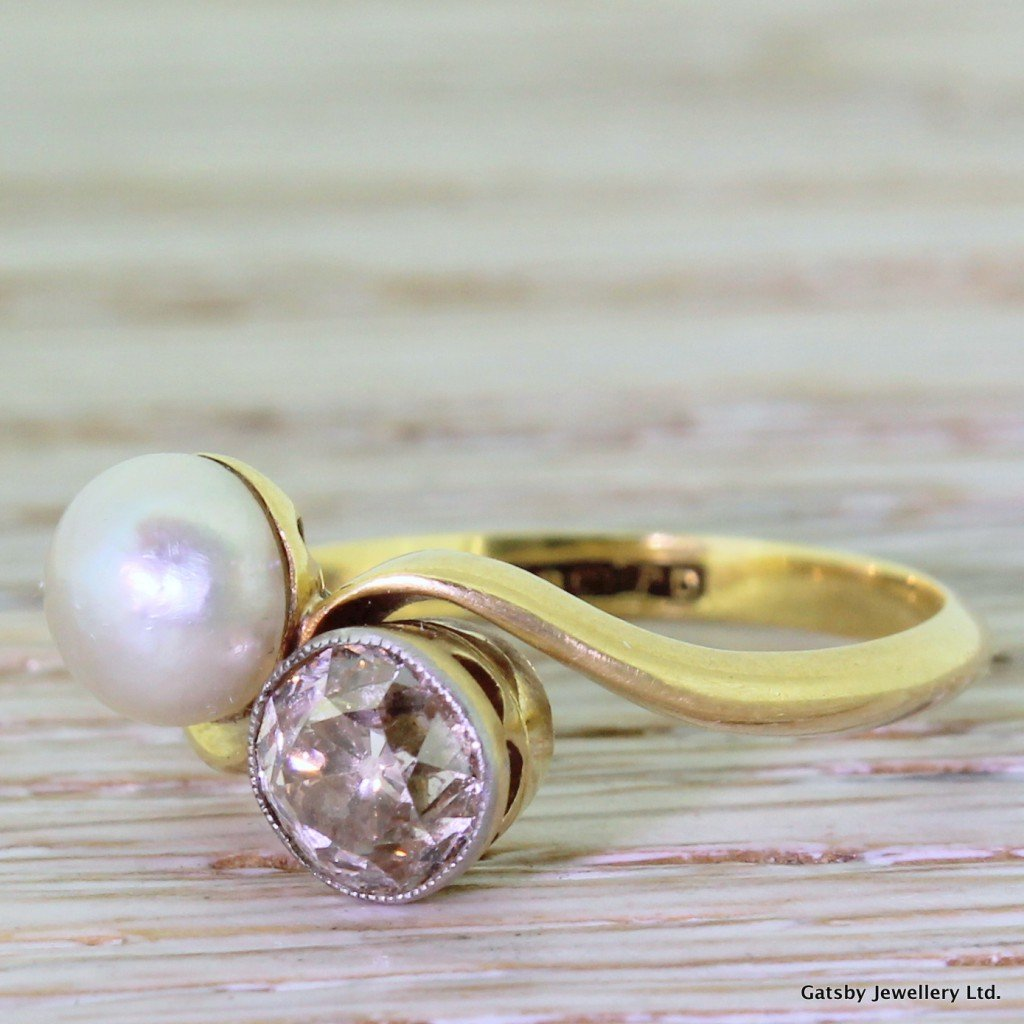 art deco pearl 038 094 carat fancy cognac old cut diamond crossover ring circa 1935