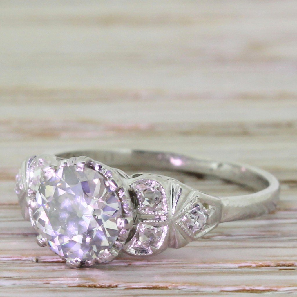 art deco 134 carat old cut diamond engagement ring circa 1920