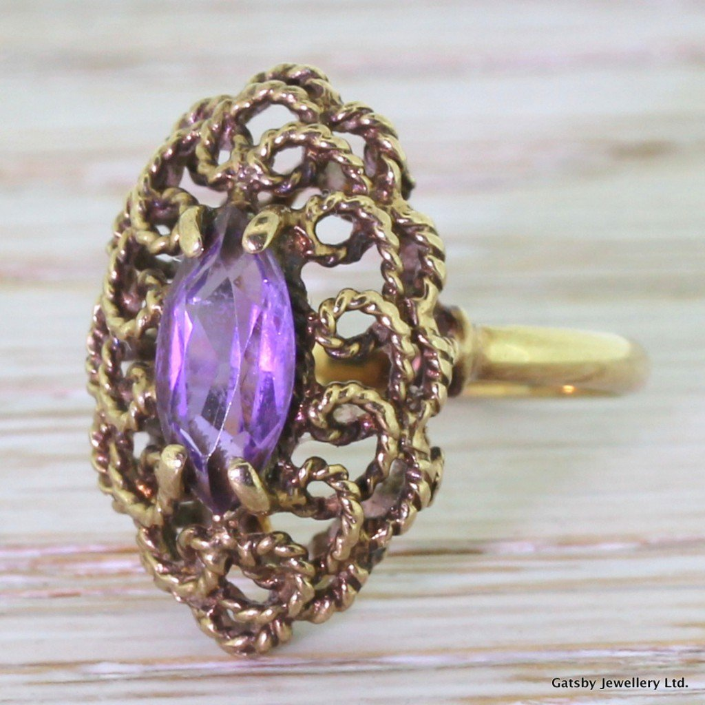 vintage 100 carat marquise amethyst rope ring dated 1975