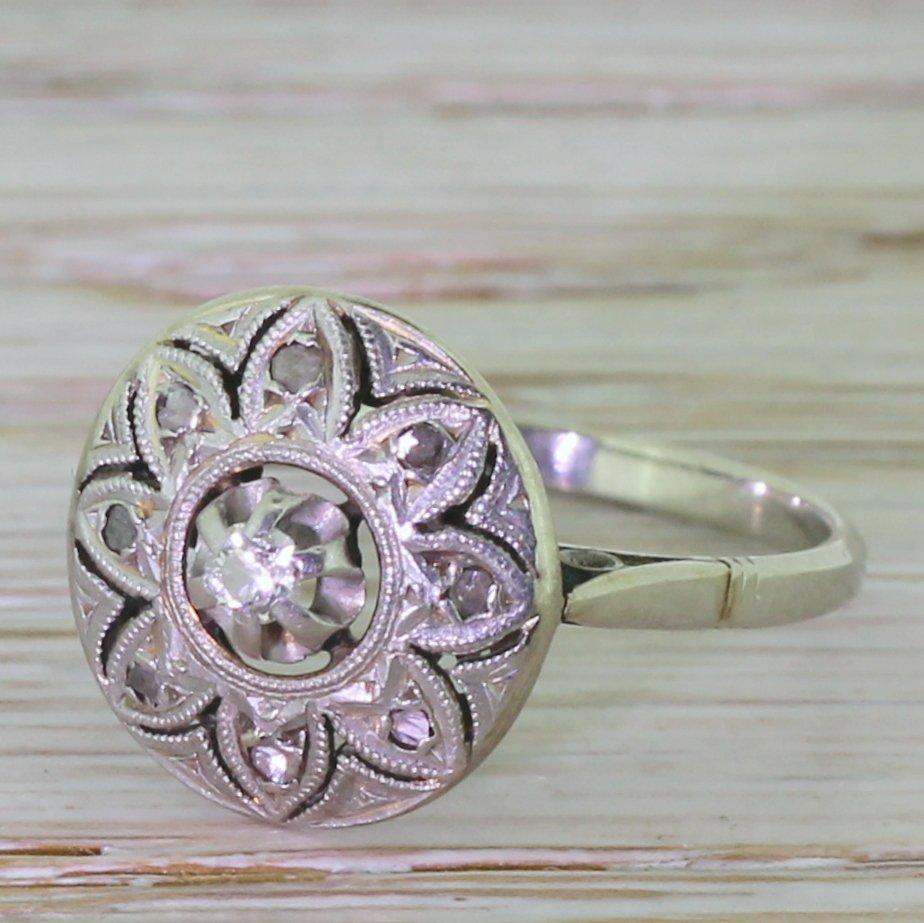 mid century 021 carat old cut diamond 8220lotus8221 ring french circa 1950