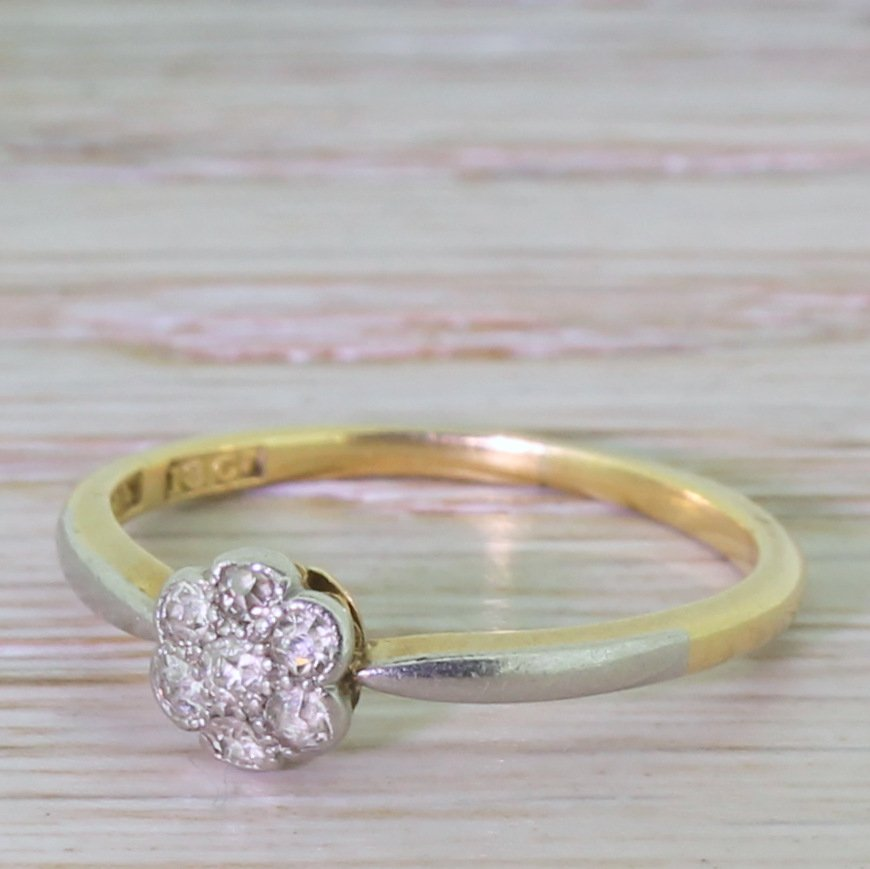 edwardian 027 carat old cut diamond cluster ring circa 1910