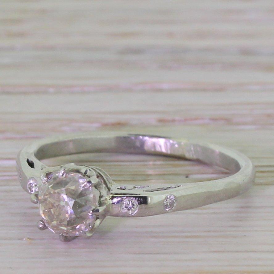 mid century 100 carat old cut diamond engagement ring circa 1950