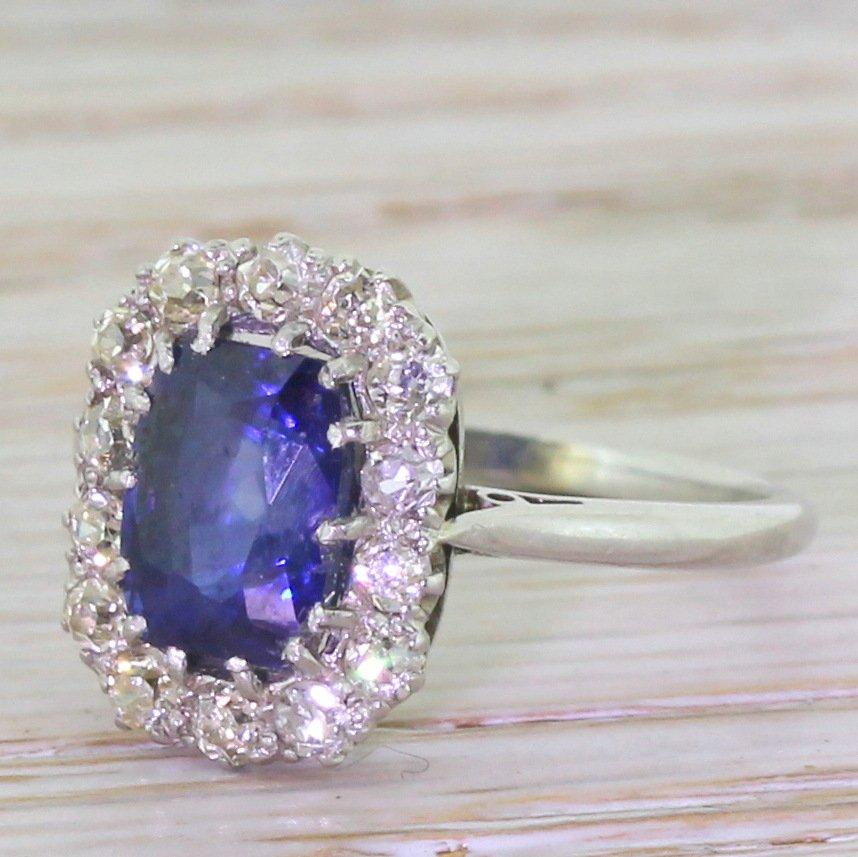 art deco 125 carat sapphire 038 old cut diamond cluster ring circa 1930
