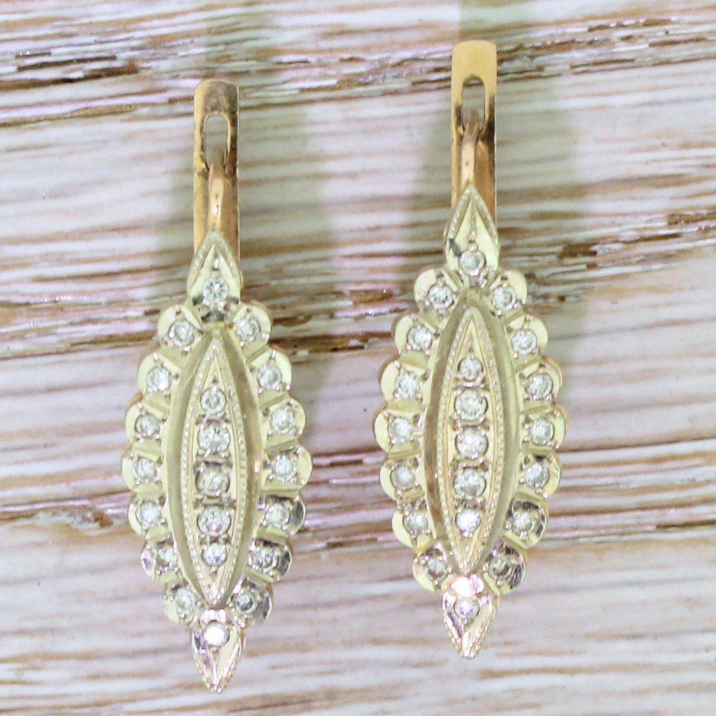 vintage soviet diamond marquise shaped earrings circa 1980