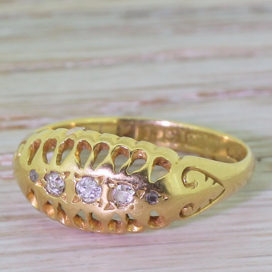 early 20th century old cut diamond five stone ring dated 1915