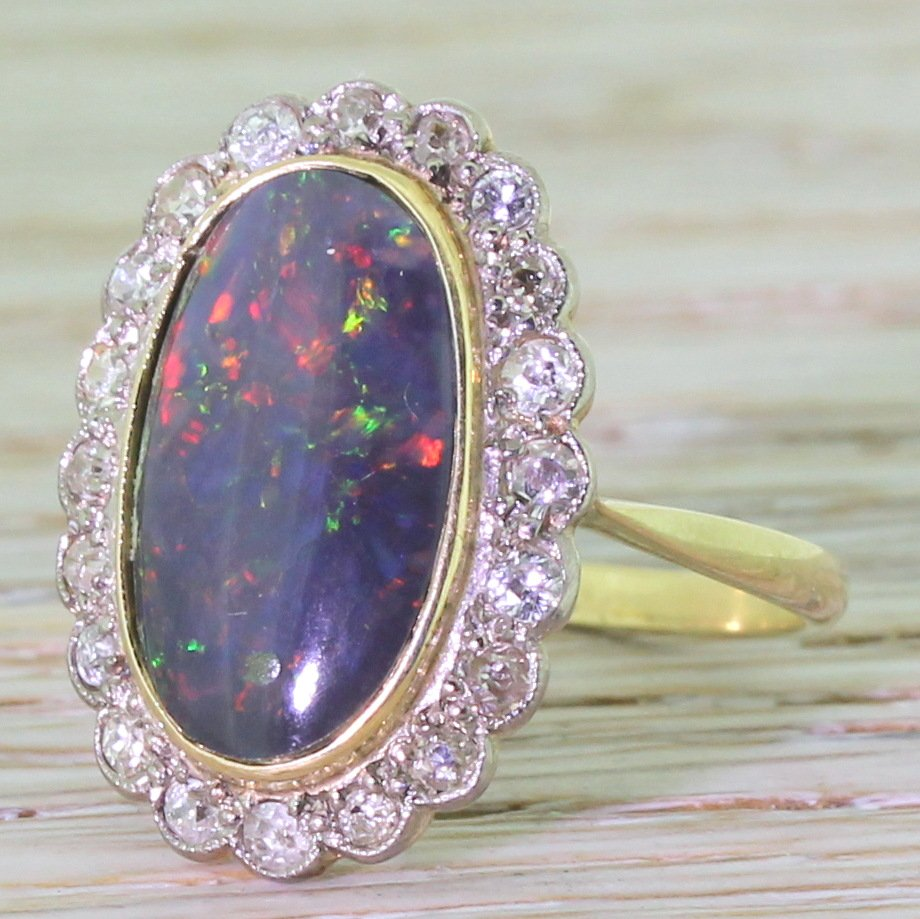 art deco 230 carat black opal 038 old cut diamond ring circa 1925