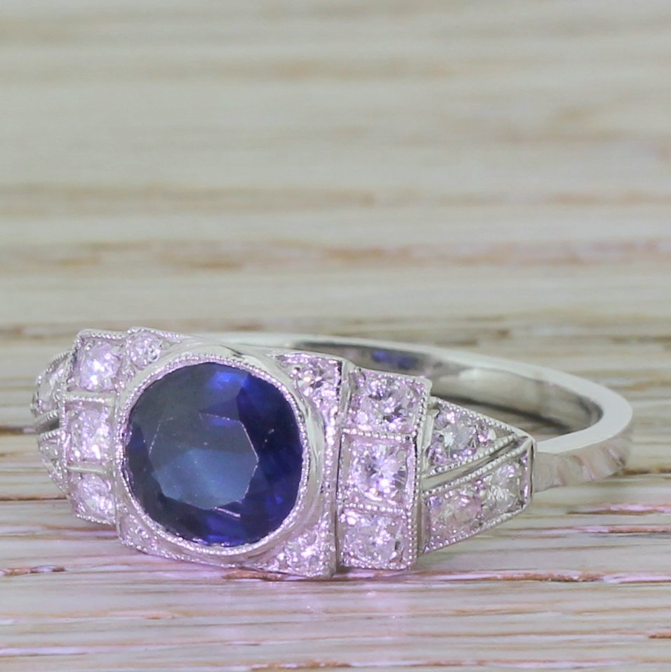 late 20th century 180 carat sapphire 038 diamond ring circa 1985
