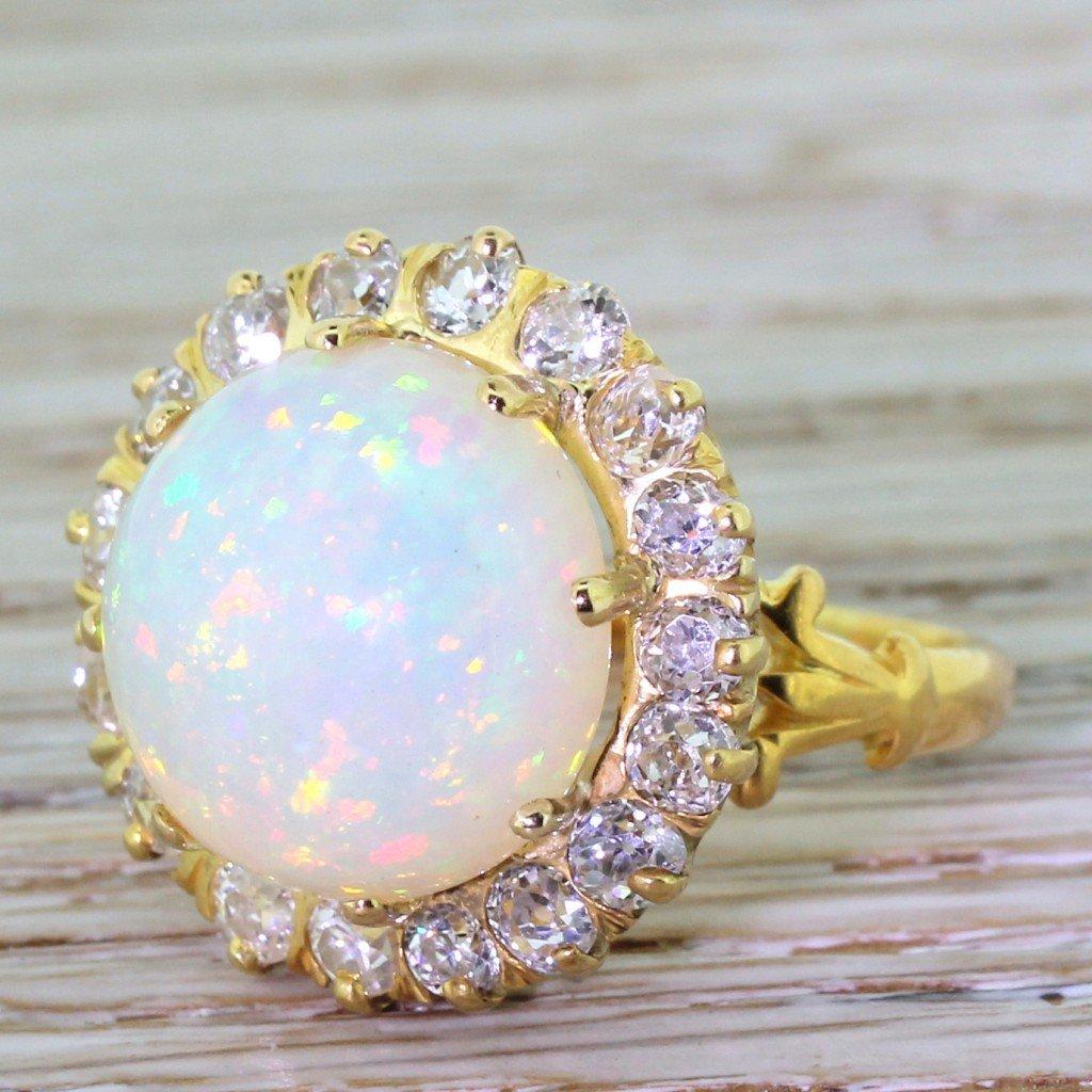 retro 500 carat opal 038 136 carat old cut diamond ring circa 1945