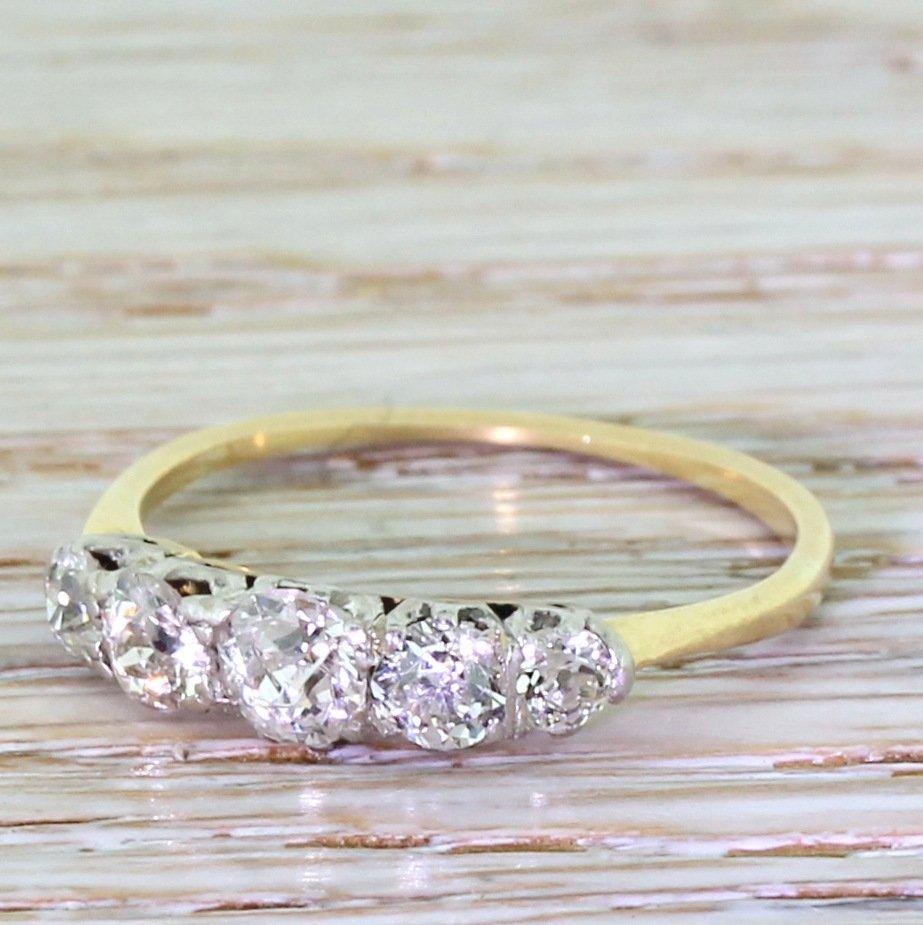 victorian 090 carat old cut diamond five stone ring circa 1900