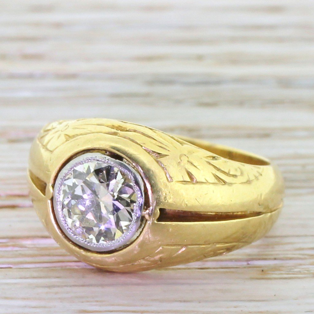 mid century 109 carat old cut diamond ornate solitaire ring dated 1951