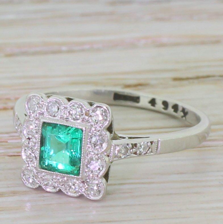 art deco square cut emerald 038 diamond cluster ring circa 1935