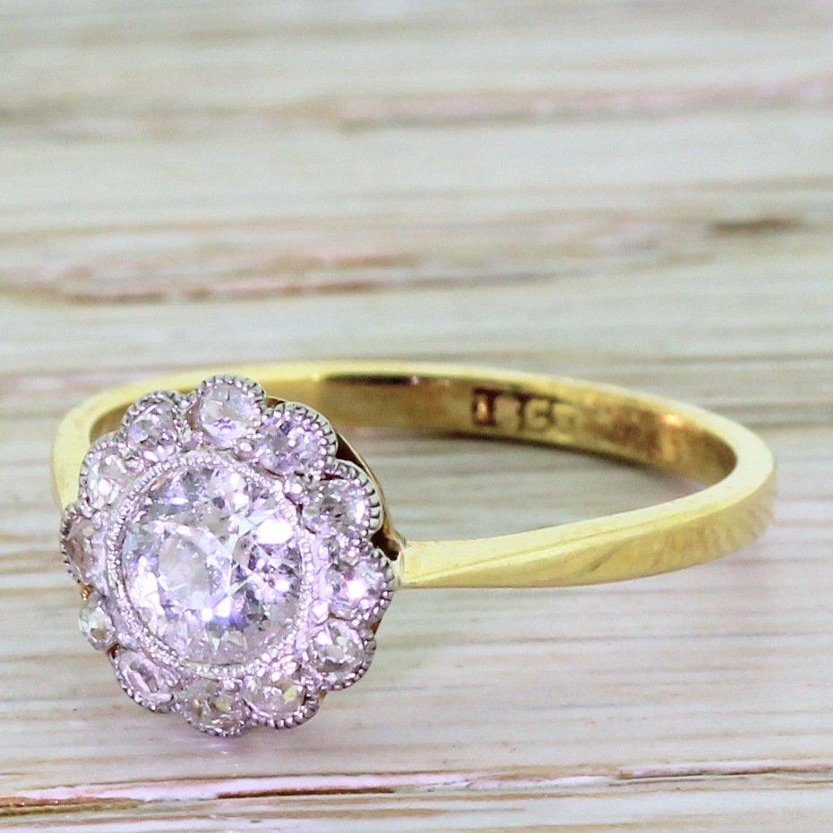 art deco 091 carat old cut diamond target cluster ring circa 1920