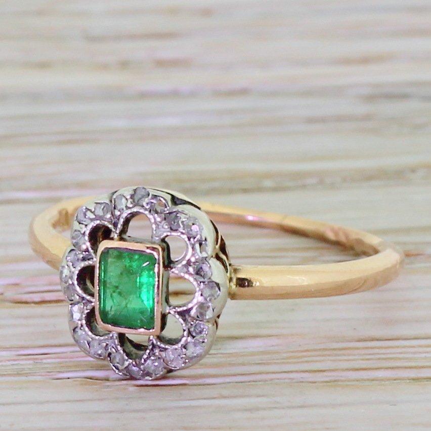 art deco emerald 038 rose cut diamond ring circa 1930