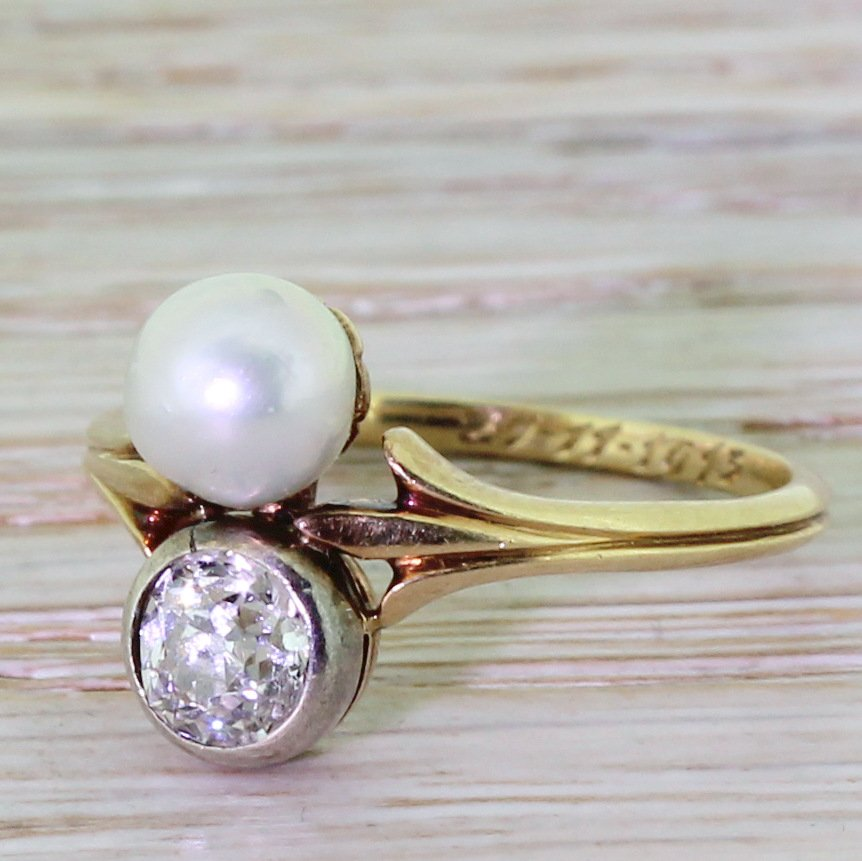 edwardian 070 carat old cut diamond 038 natural pearl ring dated 1913