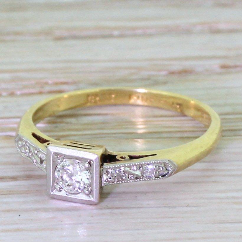 mid century 020 carat round brilliant diamond ring circa 1950