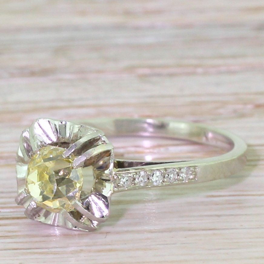 art deco 105 carat natural fancy yellow old cut diamond engagement ring french circa 1930