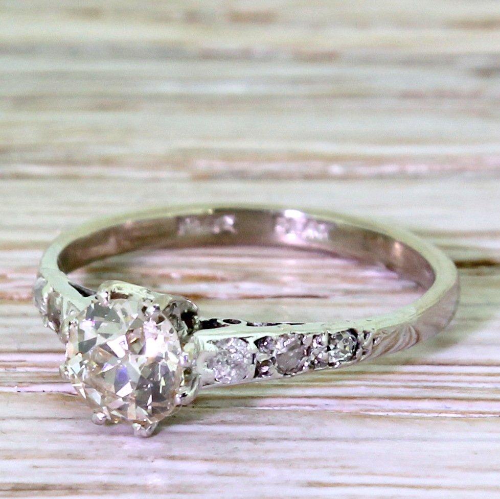 art deco 067 carat old mine cut diamond engagement ring circa 1930