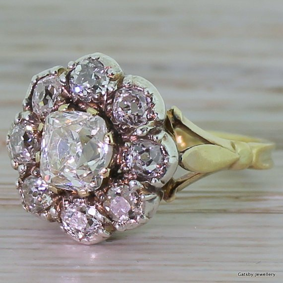victorian 200 carat old cut diamond 8220cushion8221 cluster ring circa 1860