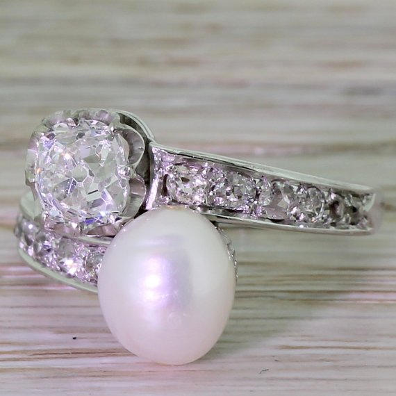 art deco 098 carat old cut diamond 038 natural pearl cross over ring french circa 1930