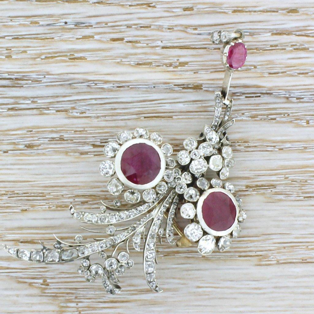 victorian ruby 038 old cut diamond pendant  brooch circa 1850