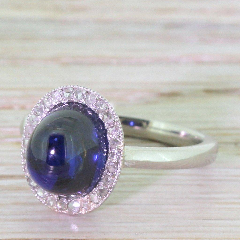 art deco 400 carat cabochon sapphire 038 diamond ring circa 1935