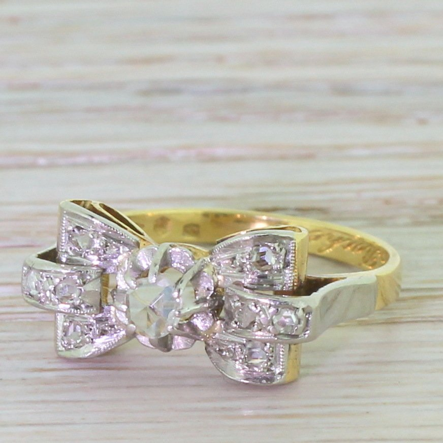 mid century 017 carat rose cut diamond 8220bow8221 ring dated 1957