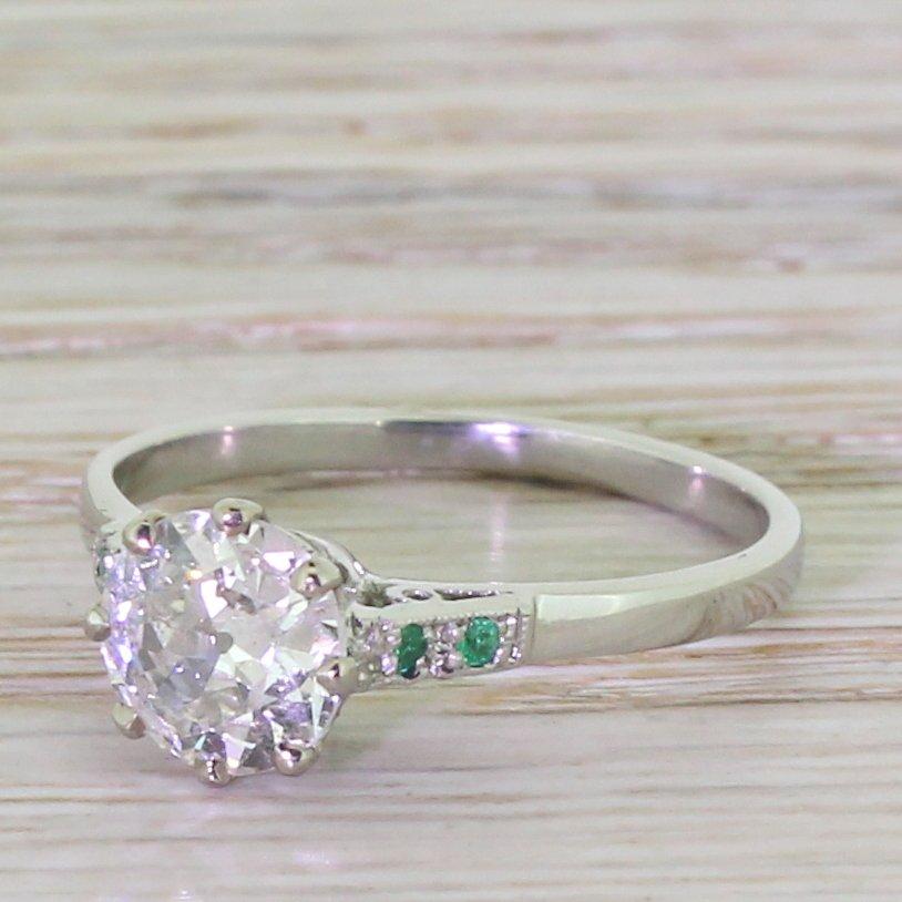 art deco 108 carat old cut diamond 8220emerald shoulders8221 ring circa 1925
