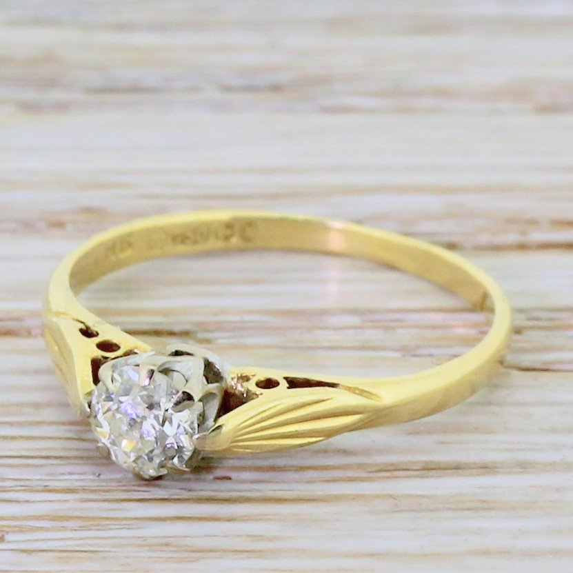 mid century 033 carat old cut diamond engagement ring dated 1962