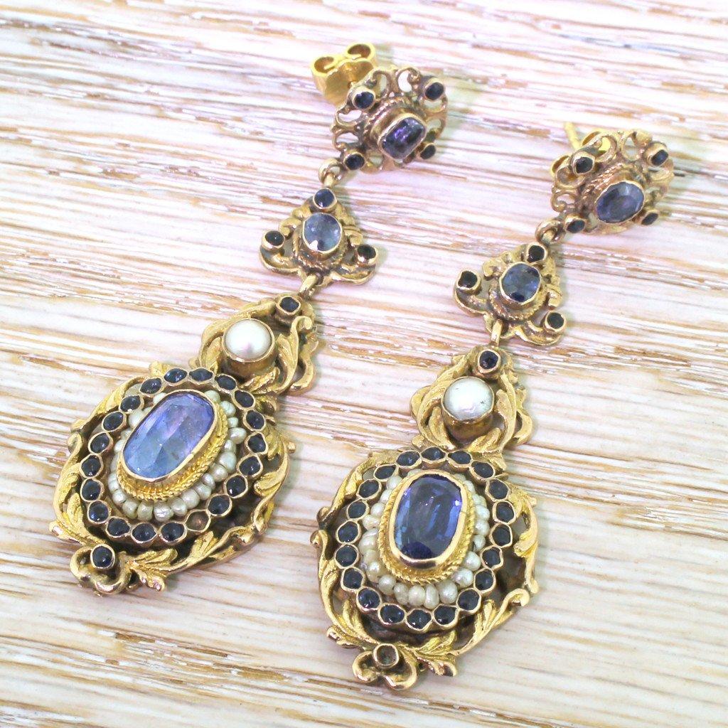 austo hungarian natural sapphire 038 pearl earrings circa 1910