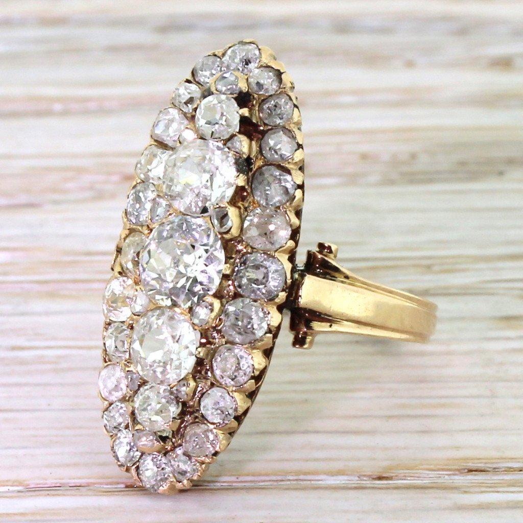 victorian 400 carat old cut diamond cluster ring circa 1870